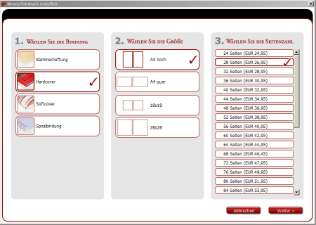 Fotobuch Software Bindung_Format_Seitenanzahl