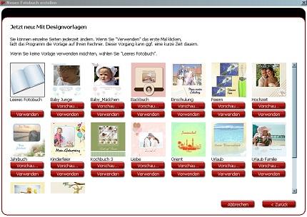Backbuch Designvorlage wählen