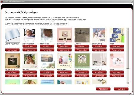 Fotobuch Software Designvorlage